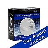 Jucon 3er-Set Rauchmelder, Feuermelder, geprüft...