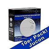 Jucon 10er-Set Rauchmelder, Feuermelder, geprüft...